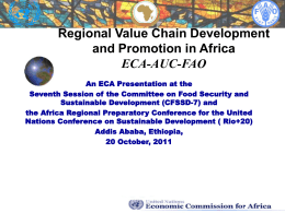 development of strategic agricultural commodity value chains for