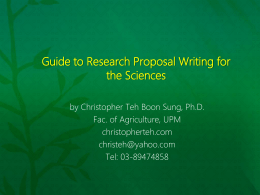 Research Proposal Writing for the Sciences