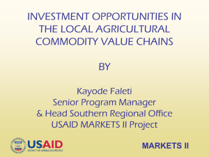 Investment Opportunities in Local Agricultural Commodity Value