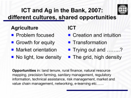 Opportunities - ICT in Agriculture