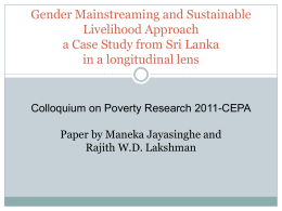 Gender Mainstreaming and Sustainable Rural Livelihoods