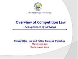 Competition Overview – Barbados Experience