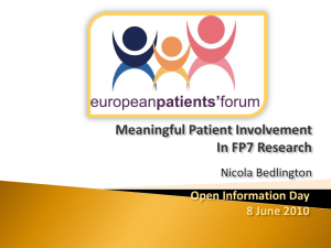 Meaningful Patient Involvement in FP7 Research