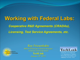 Federal Labs and CRADAS: Tim Wittig, Principal, Technology