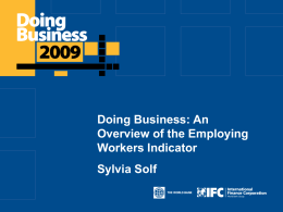 Doing Business: An Overview of the Employing Workers Indicator