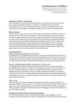 Newsletter 2011-2 - Swedish Schools of Architecture