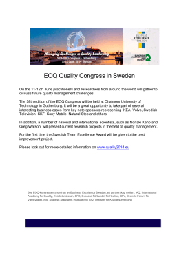 EOQ Quality Congress in Sweden