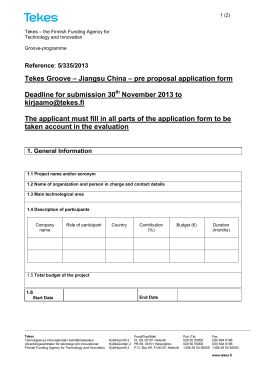 Tekes Groove – Jiangsu China – pre proposal application form