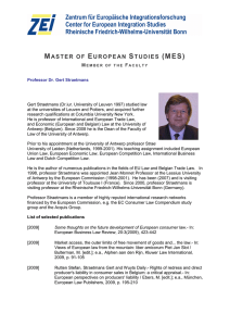 MASTER OF EUROPEAN STUDIES (MES)