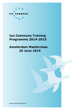2015. Masterclass Amsterdam - Ius Commune Research School