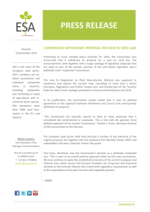 PRESS RELEASE - European Seed Association