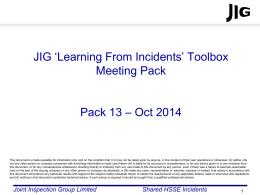 JIG LFI Toolbox Pack 13 - Joint Inspection Group