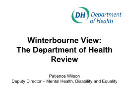 DH REVIEW: WINTERBOURNE VIEW HOSPITAL