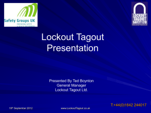 Lockout Tagout - Ayrshire Occupational Health & Safety Group