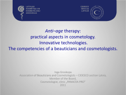 Anti–age therapy: practical aspects in cosmetology. Innovative