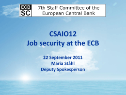 CSAIO12 Job security at the ECB