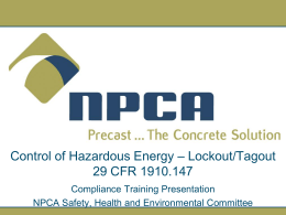 Control of Hazardous Energy - National Precast Concrete Association