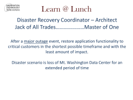 Disaster Recovery - Information Technology at the Johns Hopkins