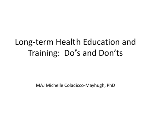 Long-term Health Education and Training: Do*s and Don*ts