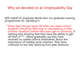 Why we decided on an Employability Day