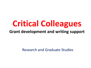 Critical Colleagues: Grant development and writing support