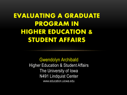 Evaluating a Graduate Program In Student Affairs
