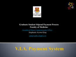 Graduate Student Payment Process - University of Calgary