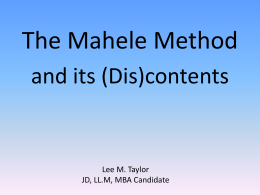 The Mahele Method - Tech Transfer Central