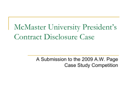 McMaster University President`s Contract Disclosure Case