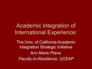 Academic Integration of International Experience: Creative