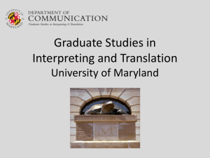 Graduate Studies in Interpreting and Translation – University of