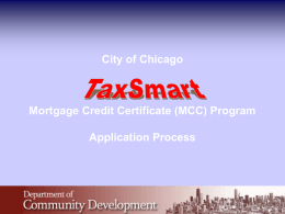 TaxSmart MCC Program Application Process PPT
