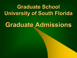 College of The Arts (FA) - USF Office of Graduate Studies