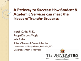 A Pathway to Success: How Student & Academic Services can meet