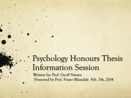 Psychology Honours Thesis Information Session