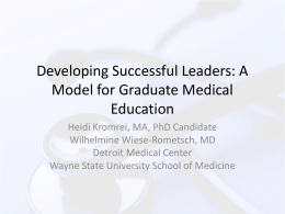 Developing Successful Leaders: A Model for Graduate Medical