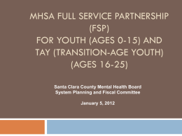FSP * Presentation to MHB by County FSP Program (Ages: Youth 0