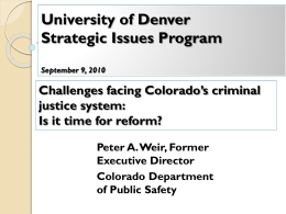 University of Denver Strategic Issues Program September 9, 2010