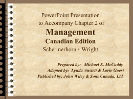 Chapter 2: Management -- Past and Present