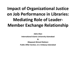 Impact of Organizational Justice on Job Performance in Libraries