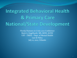 Integrated Behavioral Health & Primary Care National/State