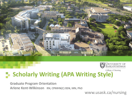 Scholarly Writing Presentation