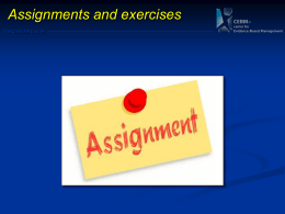 Assignment and Exercises - Center for Evidence