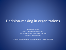 Decison-making in organizations