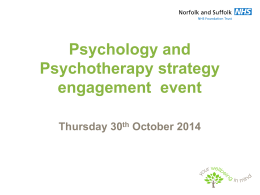 NSFT Psychology and Psychotherapy Strategy consultation events