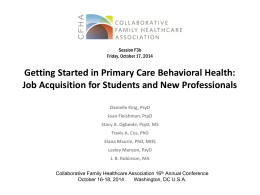 Getting Started in Primary Care Behavioral Health