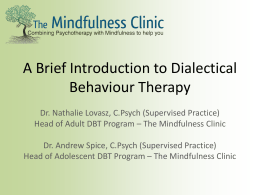 Introduction to Dialectical Behavioural Therapy Powerpoint
