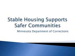 Minnesota Department of Corrections Stable Housing Supports