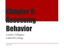 Chap 8 Assessing Behavior