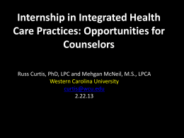 Internship in Integrated Care - Powerpoint Presentation